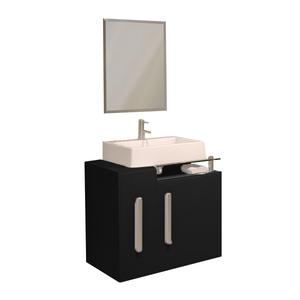Gabinete de Banheiro Madeira Preto 55x40x63cm Vivaz Policlass