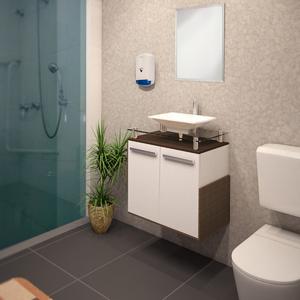Gabinete de Banheiro Madeira Branco e Nogueira 55x65x40,5 Porto Policlass