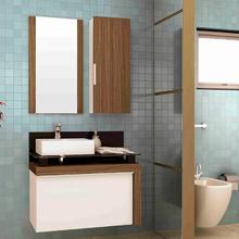 Gabinete de Banheiro Madeira 55x80x43cm Branco e Nogueira Cristalo Mazzu