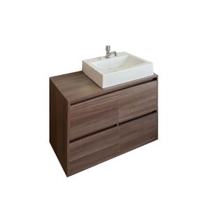 Gabinete de Banheiro Madeira Nogueira 56,50x80x40cm Mônaco Policlass