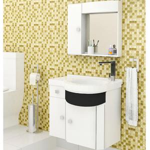 Gabinete de Banheiro Madeira Branco e Preto 59x64x43cm Luxor Sicmol
