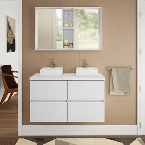 Gabinete de Banheiro Madeira 60x100x40cm Branco Sonora Darabas Agardi