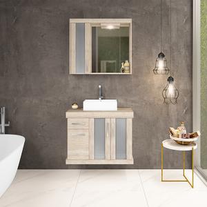 Gabinete de Banheiro Madeira 61x80x40cm Mezzo Blanco Atacama Darabas Agardi