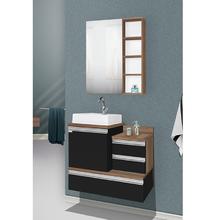 Gabinete de Banheiro Madeira Preto e Nogal 65x78x43cm Vogue 80 Fabribam