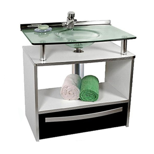 Gabinete de Banheiro Madeira Branco e Preto 70x50x46cm Mold Cris Metal