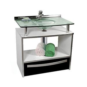 Gabinete de Banheiro Madeira Branco e Preto 70x70x46cm Mold Cris Metal