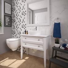 Gabinete de Banheiro Madeira 75X80X39cm Branco Nouvelle P&C Artemobili