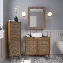 Gabinete de Banheiro Madeira 75x85x39cm Garapa Bianco Inova P&C Artemobili