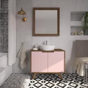Gabinete de Banheiro Madeira 75x85x40cm Garapa e Rosa Tendence P&C Artemobili