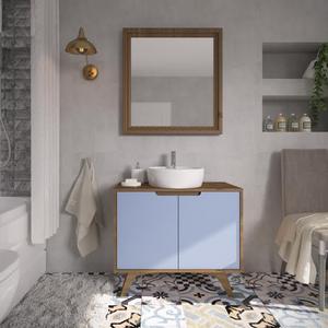Gabinete de Banheiro Madeira 75x85x40cm Garapa e Azul Tendence P&C Artemobili