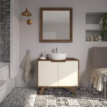 Gabinete de Banheiro Madeira 75x85x40cm Garapa e Pérola Tendence P&C Artemobili