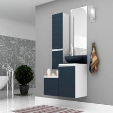 Gabinete de Banheiro Madeira 81x45x43cm Branco e Petróleo Marsala Mazzu