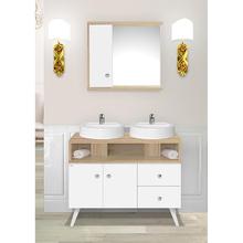 Gabinete de Banheiro Madeira Branco e Carvalho 82x100x42cm Retrô 100 Fabribam
