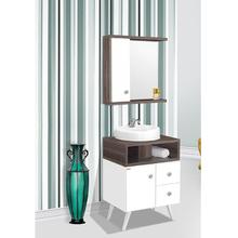Gabinete de Banheiro Madeira Branco e Amêndoa 82x60x42cm Retrô 60 Fabribam