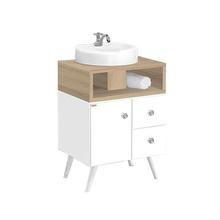 Gabinete de Banheiro Madeira Branco e Carvalho 82x60x42cm Retrô 60 Fabribam