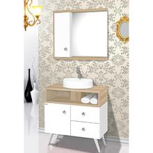 Gabinete de Banheiro Madeira Branco e Carvalho 82x78x42cm Retrô 80 Fabribam