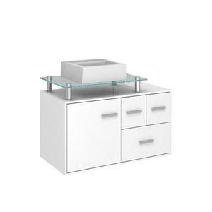 Gabinete de Banheiro Madeira Branco 1 Porta 53,5x80,2x40,2 Napoli II Darabas Agardi