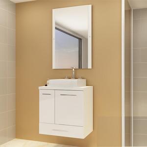 Gabinete de Banheiro Madeira Branco 1 Porta 59,5x60,2x40,2 Madri II Darabas Agardi