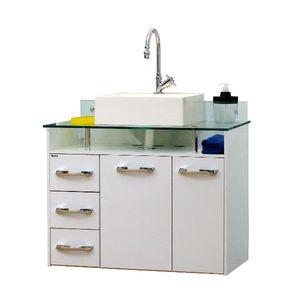 Gabinete de Banheiro Madeira Branco 2 Portas 60x82x45 Naple Bonatto