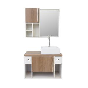 Gabinete de Banheiro Madeira Branco e Castani 45x45x70 Harpex