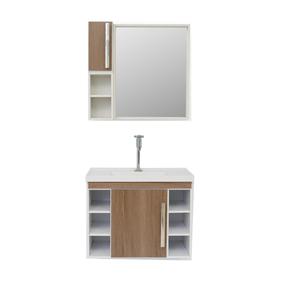Gabinete de Banheiro Madeira Branco e Marrom 49x38x62 Harpex