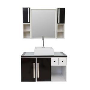 Gabinete de Banheiro Madeira Branco e Preto 45x46x80 Harpex