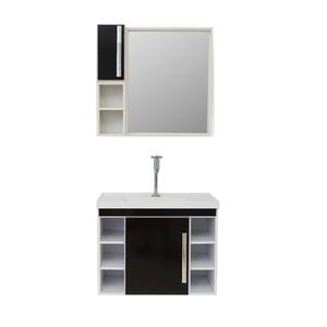 Gabinete de Banheiro Madeira Branco e Preto 49x38x62 Harpex