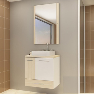 Gabinete de Banheiro Madeira Ibizza 1 Porta 59,5x60,2x40,2 Madri II Darabas Agardi