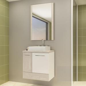 Gabinete de Banheiro Madeira Mezzo Blanco 1 Porta 59,5 x60,2x40,2 Madri II Darabas Agardi
