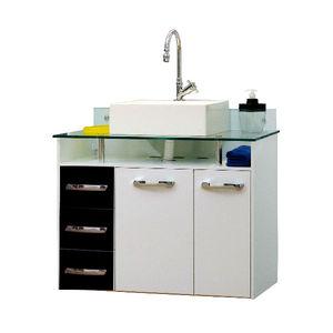 Gabinete de Banheiro Madeira Preto 2 Portas 60x82x45 Naple Bonatto