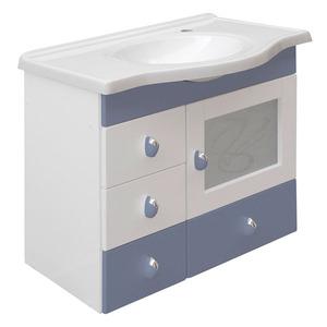 Gabinete de Banheiro sem Espelho Magnum MDF Branco/Azul com Cuba Moldada Darabas