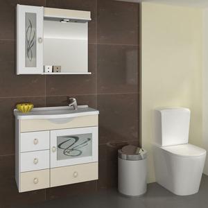 Gabinete de Banheiro sem Espelho Magnum MDF Branco/Biscuit com Cuba Moldada Darabas