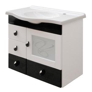 Gabinete de Banheiro sem Espelho Magnum MDF Branco/Preto com Cuba Moldada Darabas