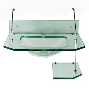 Gabinete de Banheiro Milão Vidro Incolor Com Cuba Espelhos e Ba