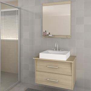 Gabinete de Banheiro sem Espelho Monte Carlo II MDF Branco/Ibiza sem Cuba Darabas