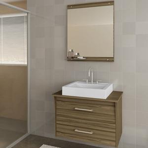 Gabinete de Banheiro sem Espelho Monte Carlo II MDF Branco/Terracota sem Cuba Darabas