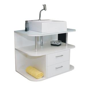 Gabinete de Banheiro Nissi Branco 75cm Titan