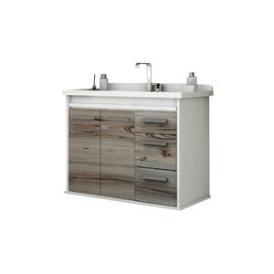 Gabinete de Banheiro Sem Espelho Presence MDP Branco/Noce Sem Cuba Mezzaroba