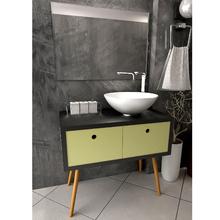 Gabinete de Banheiro Retrô 79x80x45cm Preto e Amarelo Venturi