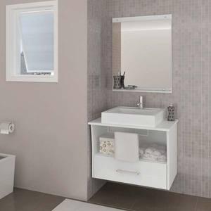 Gabinete de Banheiro sem Espelho San Remo II MDF Branco sem Cuba Darabas