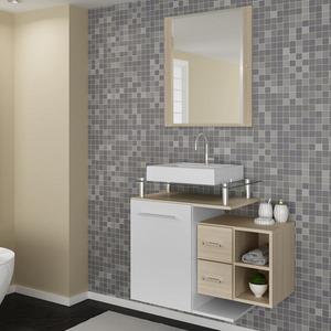 Gabinete de Banheiro sem Espelho Sicilia II MDF Branco/Ibiza sem Cuba Darabas