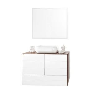 Gabinete de Banheiro Sem Espelho Simmetria MDF e MDP Nogal Sem Cuba Harpex