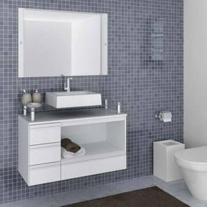 Gabinete de Banheiro sem Espelho Sollo II MDF Branco sem Cuba Darabas
