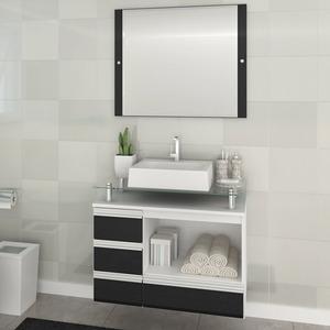 Gabinete de Banheiro sem Espelho Sollo II MDF Branco/Preto sem Cuba Darabas