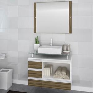 Gabinete de Banheiro sem Espelho Sollo II MDF Branco/Terracota sem Cuba Darabas