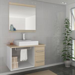 Gabinete de Banheiro sem Espelho Verona II MDF Branco/Ibiza sem Cuba Darabas