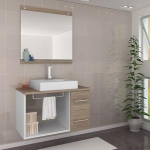 Gabinete de Banheiro sem Espelho Verona II MDF Branco/Mezzo sem Cuba Darabas
