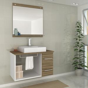 Gabinete de Banheiro sem Espelho Verona II MDF Branco/Terracota sem Cuba Darabas