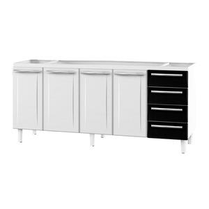 Gabinete de Cozinha Para Pia Aço Branco/Preto 4 Portas Contemporâneo 89x174,5x46,1cm Quality Cozimax