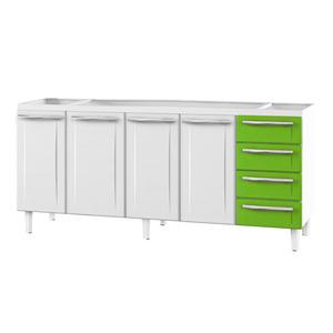 Gabinete de Cozinha Para Pia Aço Branco/Verde 4 Portas Contemporâneo 89x174,5x46,1cm Quality Cozimax